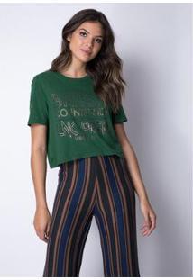 Cropped T-Shirt Estampada Lança Perfume Feminino - Feminino-Verde