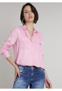 Camisa Feminina Ampla Com Bolso Manga Longa Rosa