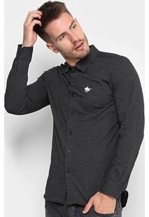 Camisa Manga Longa Rg 518 Ponto Bordado Masculina - Masculino-Preto