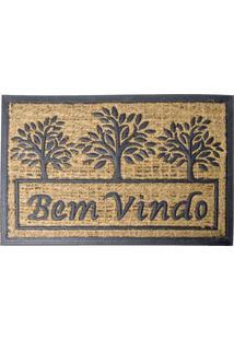 "Tapete ""Bem Vindo""- Marrom Claro & Preto- 60X40Cm"