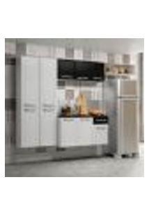Cozinha Compacta Topázio Com Balcão Suspenso 10 Pt 1 Gv Branca E Preta