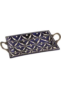 Bandeja Decorativa Retangular De Cerâmica Shuntar