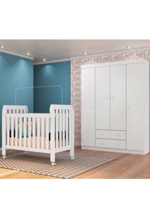 Quarto De Bebê Guarda Roupa Helena E Berço Lollipop Branco - Phoenix - Tricae