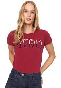 Camiseta Aeropostale Bordada Vinho