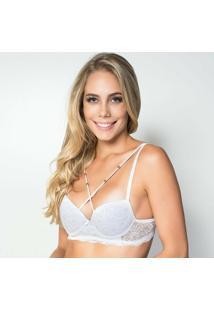 Sutiã Click Chique Básico Strappy Bijuteria - Feminino-Branco