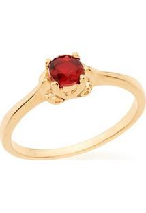 Anel Skinny Ring Solitário Com Cristal Redondo Rommanel - Feminino-Vermelho