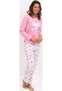 Pijama Ratinhos- Rosa & Branco- Zulaizulai