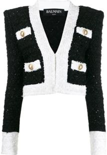 Balmain Cropped Tweed Jacket - Preto