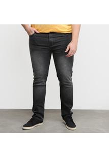 Calça Jeans Tbt Used Plus Size Masculina - Masculino-Preto