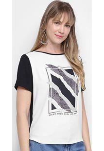 Blusa Morena Rosa Make Them Feel Like Art Feminina - Feminino-Preto+Off White