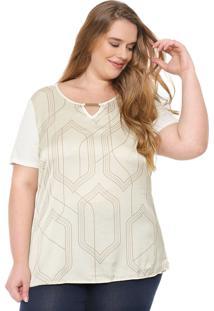 Blusa Cativa Plus Estampada Off-White