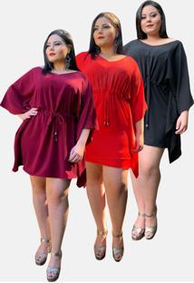 Kit 3 Vestido Curto Casual Tnm Collection Plus Size Social Festa Marsala Vermelho Preto