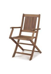 Cadeira Dobravel Primavera Com Bracos Stain Castanho - 34806 Castanho