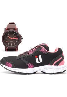 Tênis Ousy Shoes Easy Tranning Star + Relógio Preto Pink 2019