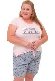 Pijama Short Doll Plus Size Manga Curta Sortido Luna Cuore