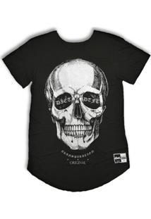 Camiseta Longline S/3D Skull V3 - Masculino