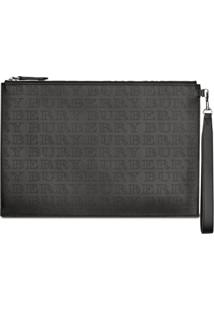 Burberry Perforated Logo Leather Zip Pouch - Preto