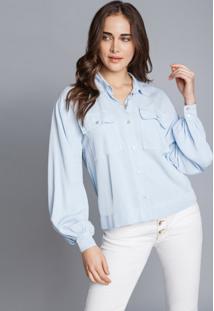 Camisa Manga Longa Bufante Azul Nuvem - Lez A Lez