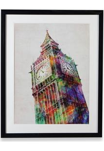 Quadro Em Madeira Gravura Big Ben 70X55Cm Colorido