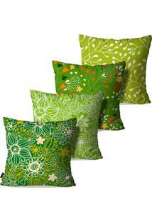 Kit Pump Up Com 4 Capas Para Almofadas Decorativas Estilo Folhas E Flores 45X45Cm - Verde - Dafiti