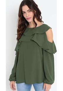 Blusa Com Babados - Verde Militarmorena Rosa