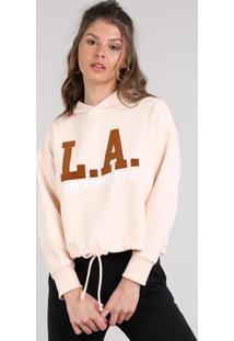 """Blusão Feminino """"L.A"""" Com Capuz Em Moletom Rosa Claro"""