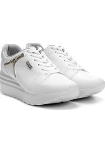 Tênis Kolosh Sneaker Anabela Zíper Lateral Feminina - Feminino-Branco