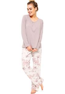 Pijama Manga Longa Floral Roxo/Off-White