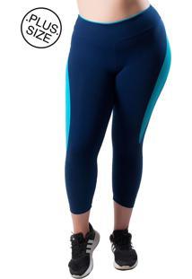 71013da0d Calça Capri Sporting Way Com Detalhe Mesh Plus Size Azul Marinho