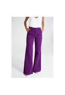 Calça Pantalona Sarja Cotelê - Quioto Roxo