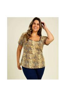 Blusa Plus Size Feminina Animal Print Manga Curta