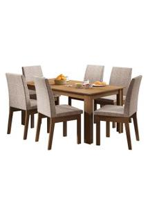 Sala De Jantar Madesa Cibele Mesa Tampo De Madeira Com 6 Cadeiras Marrom