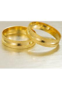 Aliança De Ouro Amarelo E Branco Reta Com Brilhante - As0983