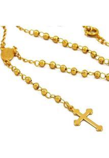 Gargantilha Horus Import Santo Rosário Banhada Ouro 18K Feminina - Feminino-Dourado