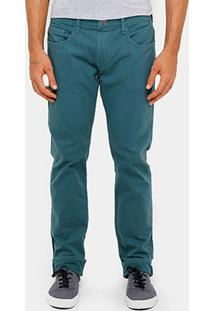 Calça Skinny Triton Gilson Sarja Tinturada Masculina - Masculino-Verde