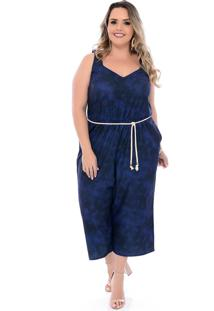 Macacã£O Plus Size Arimath Plus Pantacourt Tie Dye Azul - Azul - Feminino - Dafiti