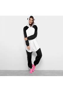 Pijama Infantil Longo Kigurumi Panda 3D Feminino - Feminino-Preto+Branco