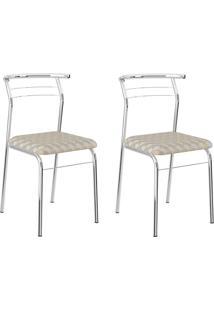 Kit 2 Cadeiras 1708 Retrô/Cromado - Carraro Móveis