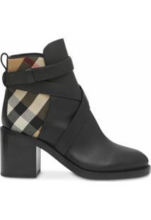 Burberry Ankle Boot Com Recorte Xadrez Vintage - Preto