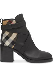 Burberry Vintage Check Panel Ankle Boots - Preto