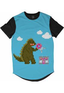 Camiseta Insane 10 Longline Godzilla Pixelado Sublimada Preto Azul