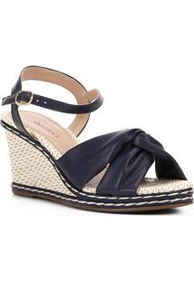 Sandália Anabela Shoestock Tiras Feminina - Feminino-Marinho