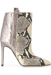 Paris Texas Ankle Boot Com Estampa Pele De Cobra - Neutro