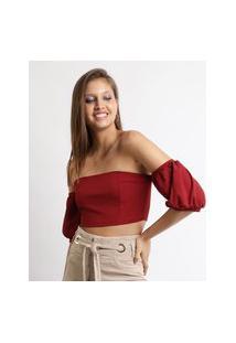 Blusa Feminina Cropped Ombro A Ombro Manga Bufante Vermelha