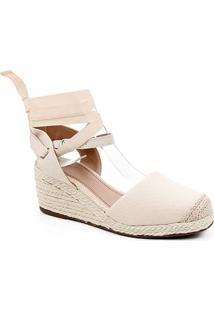 Sandália Anabela Shoestock Salto Médio Corda Feminina - Feminino-Off White