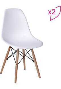 Jogo De Cadeiras Eames Dkr- Branco & Madeira- 2Pçs