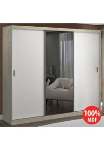 Guarda Roupa 3 Portas C 1 Espelho 100% Mdf 774E1 Marfim Areia/Branco - Foscarini