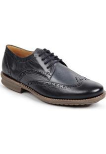 Sapato Casual Couro Oxford Dery Sandro Movers Masculino - Masculino-Preto