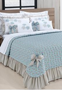 Colcha Bernadete Queen Doce Lar - Kit 7 Peças - Azul Tiffany