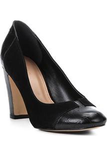 Scarpin Couro Shoestock Salto Alto Mix Croco - Feminino-Preto